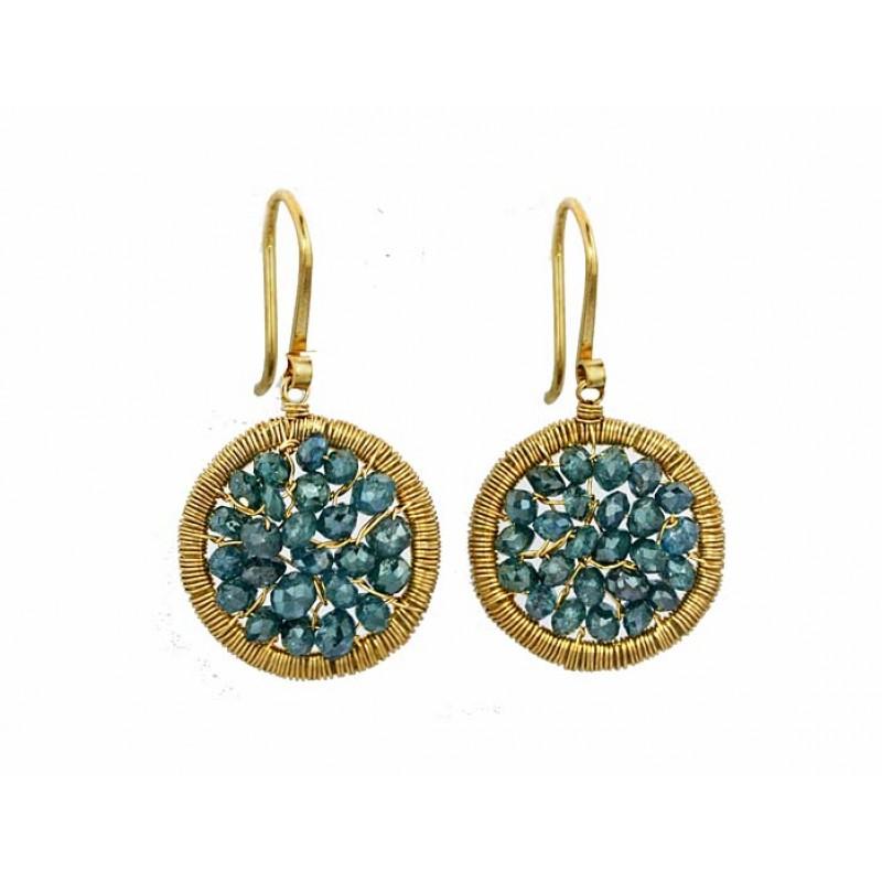 19b6ad0676b19 Dana Kellin handmade 14kyg teal diamond earrings