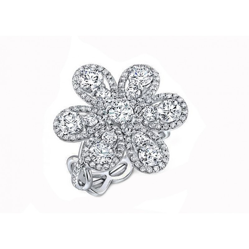 Forevermark 2.39ctw illusion set round flower ring