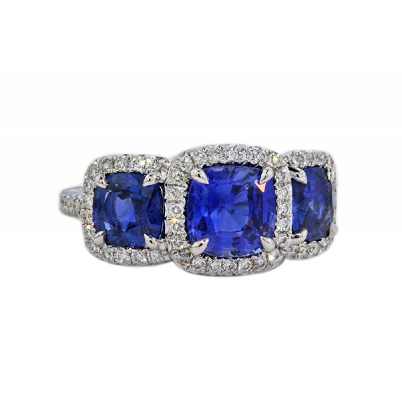 4e9b414408a452 3.4ctw cushion sapphire pave' halo 3-stone ring - Sapphire Rings - Rings -  Jewelry