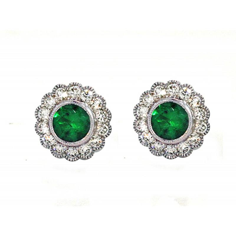 Emerald and diamond scalloped halo earrings