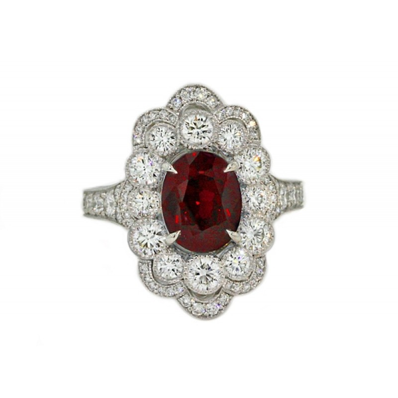 Heirloom collection custom ruby and diamond ring