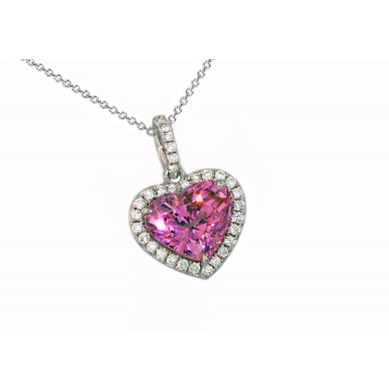 Pink sapphire heart pave' diamond halo pendant