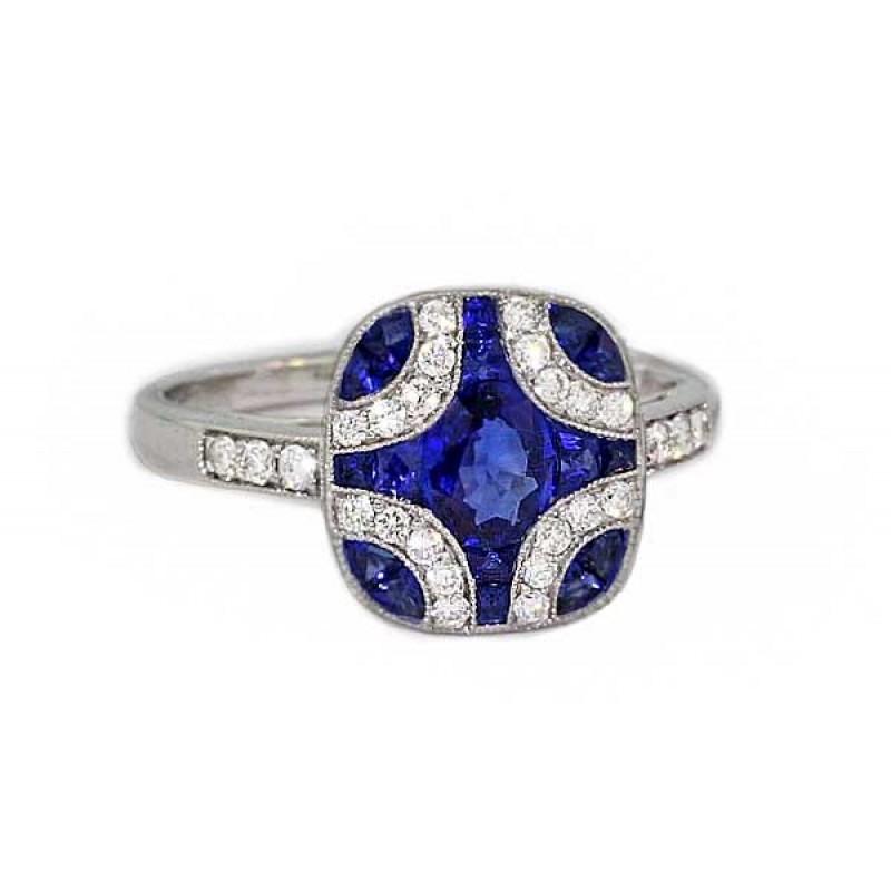 Blue Sapphire Pave Diamond Cushion Top Ring Sapphire Engagement