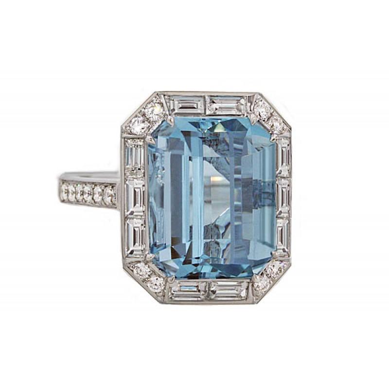 a08172a99eb00 Emerald cut Aquamarine baguette halo diamond ring