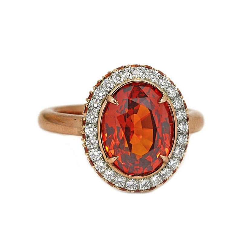 5.02ct oval orange sapphire 2-sided halo ring