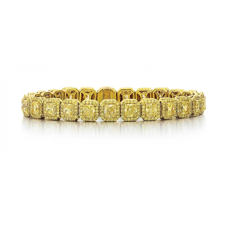 Fancy Yellow Diamond Halo Bracelet