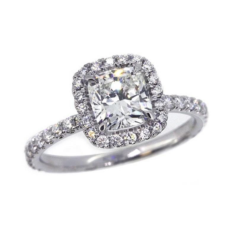 15bba08e937fd Cushion diamond pave' halo engagement ring