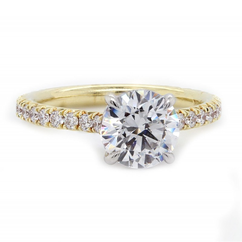 Handmade 18k yellow gold w/ platinum crown pave' diamond solitaire engagement ring