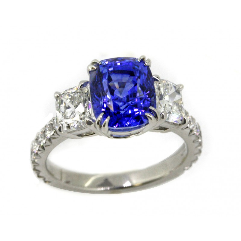 4.44 carat cushion sapphire w/ cushion diamond sides handmade pave platinum ring