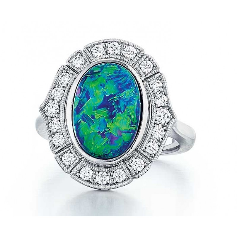 Custom made Australian Black Opal platinum and diamond ring