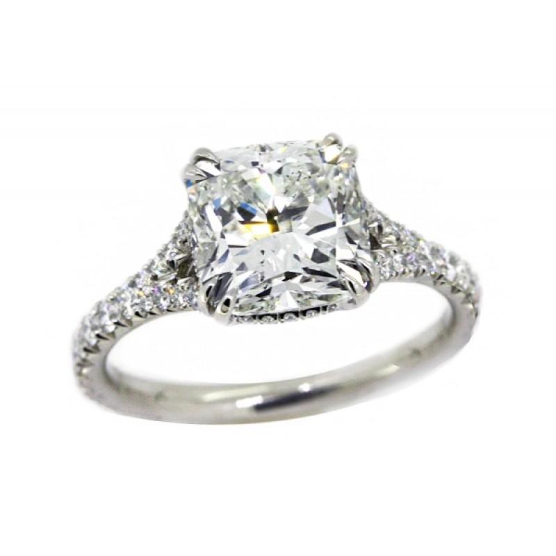 3 12ct Cushion Cut Diamond Handmade Platinum Pave Split Shank Ring
