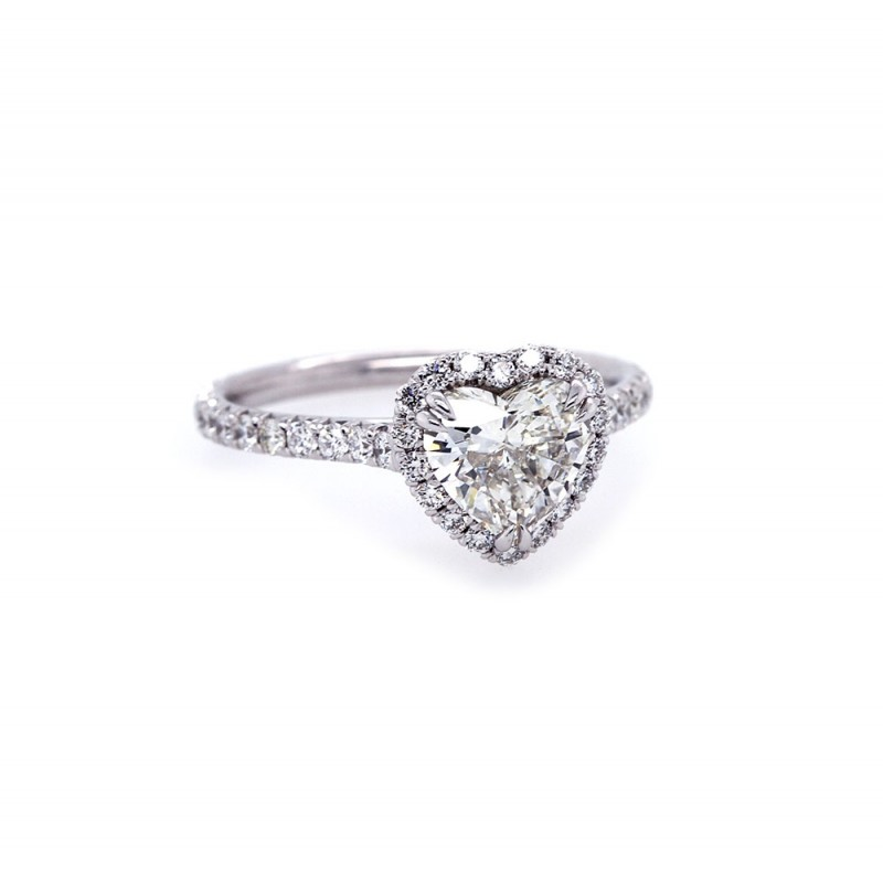 Heart Shaped Diamond Halo Engagement Ring