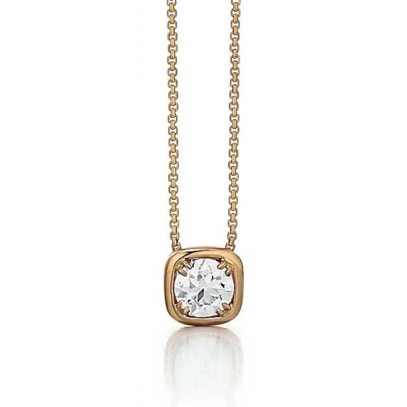 Rose Gold Euro Diamond Solitaire Pendant