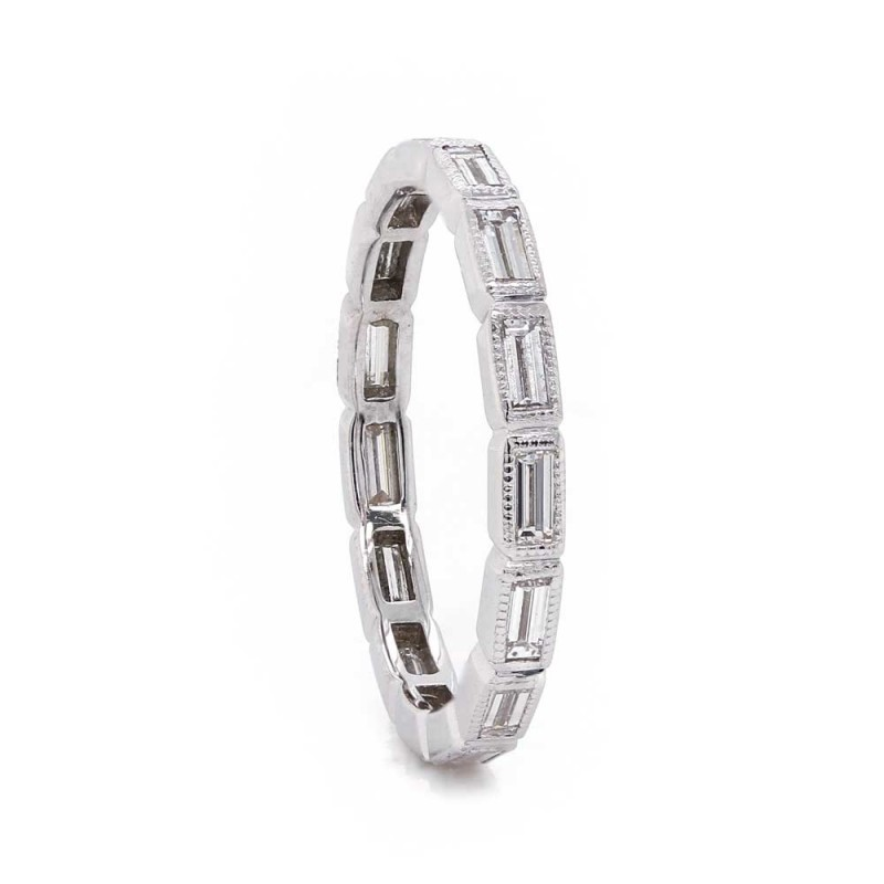 Bezel set Baguette Diamond Eternity Band