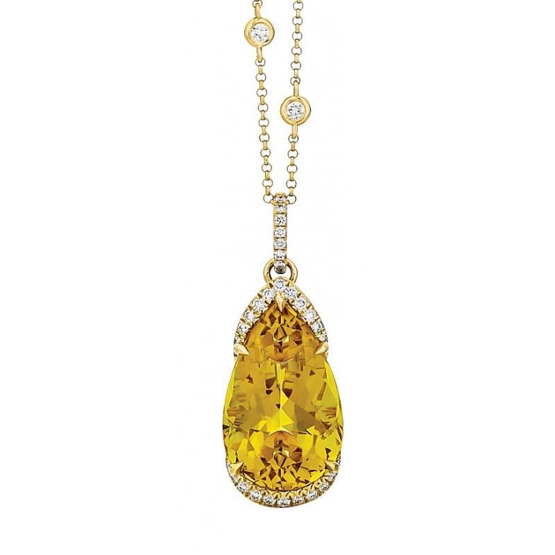 Golden Beryl Pear Pendant