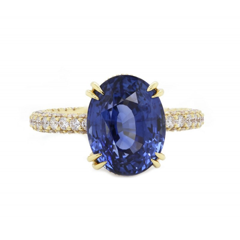 Unheated Oval Blue Sapphire Custom Ring