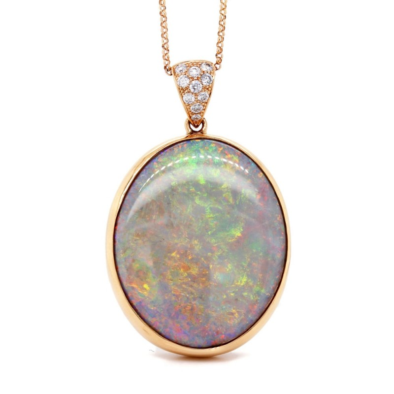 Opal and Diamond Rose Gold Pendant