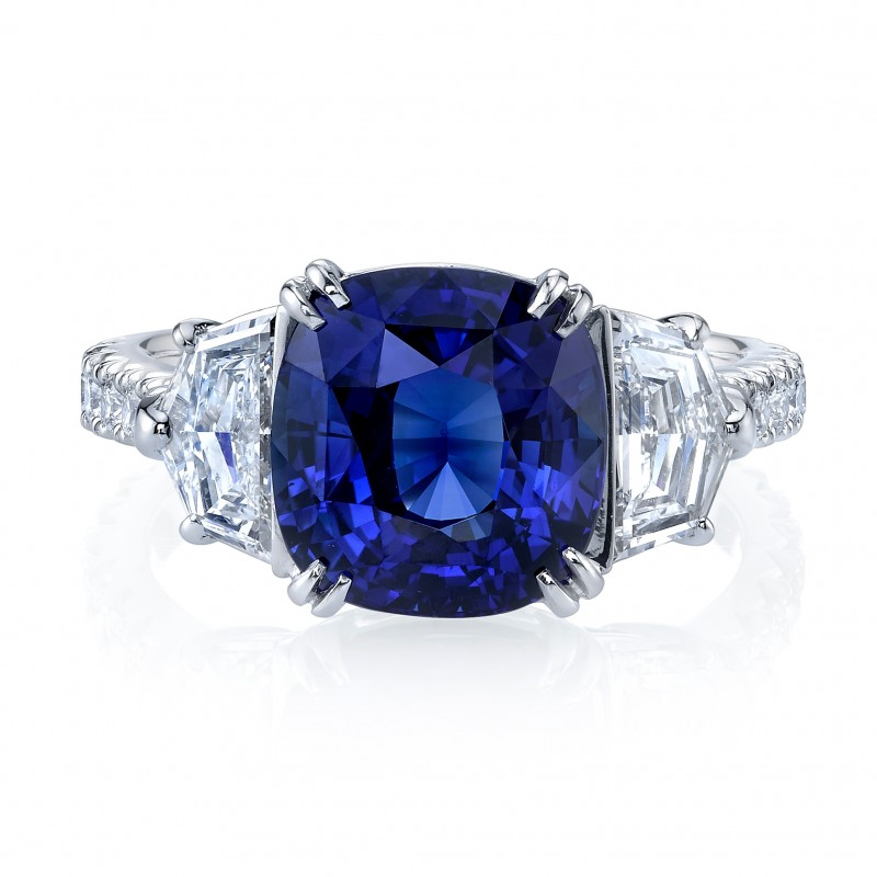 Cushion Sapphire Cadillac Diamonds Ring