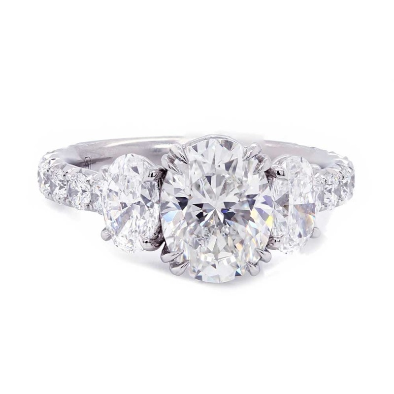 Oval Three Stone Diamond Engagement Ring