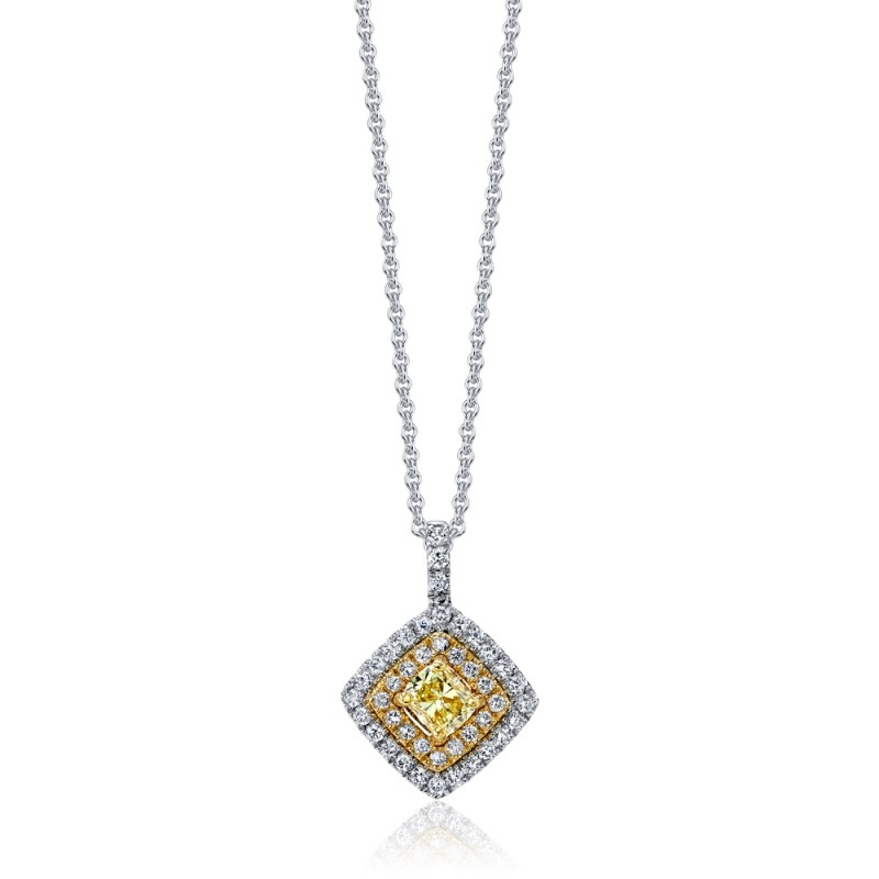Princess Fancy Yellow Diamond Pendant
