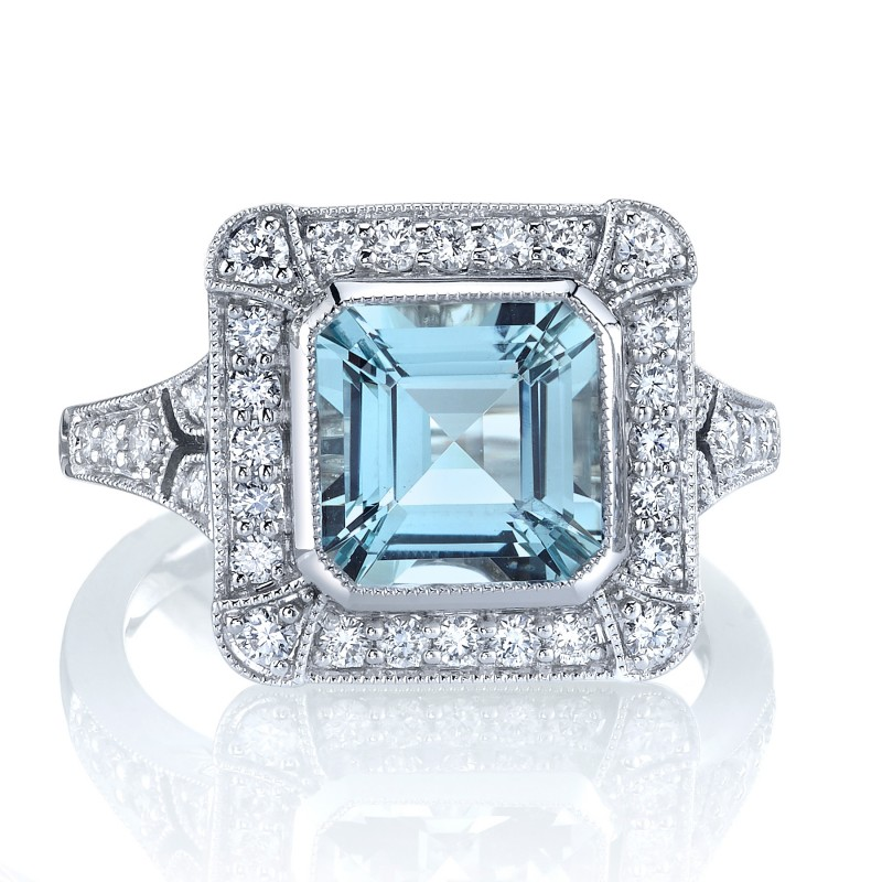 Asscher Cut Aquamarine Ring