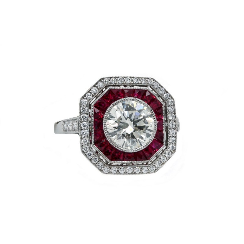 Art Deco style Ruby Halo Diamond Engagement Ring