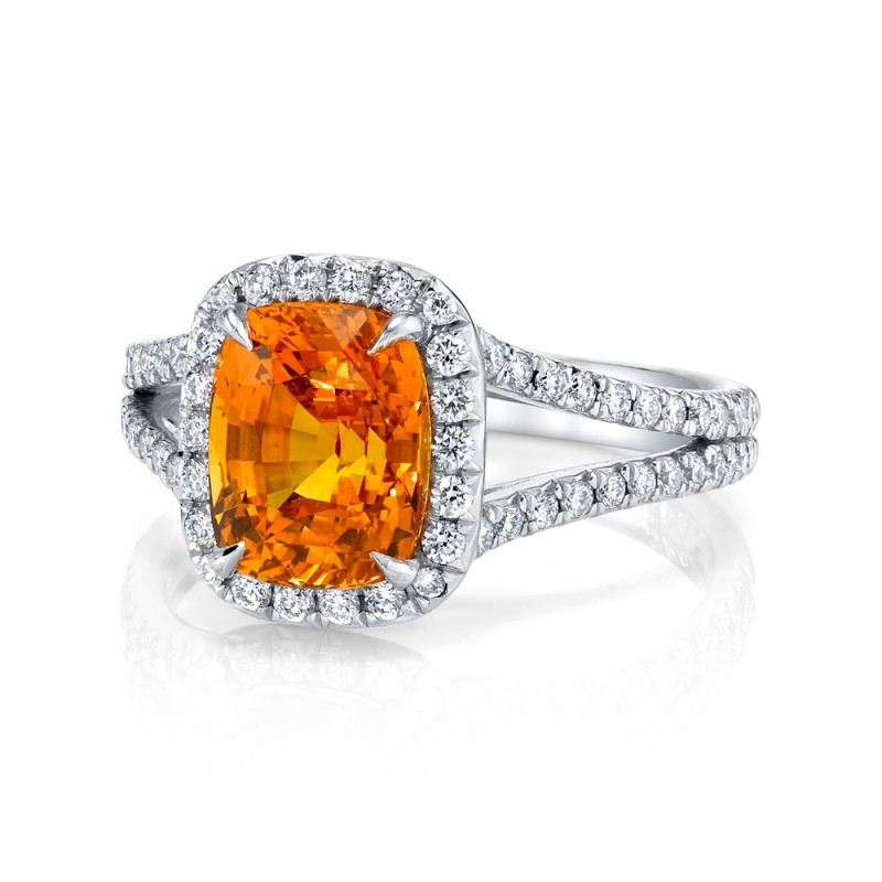 Vivid Orange Sapphire Halo Ring