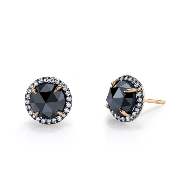 Rose Gold Black Diamond Stud Earrings