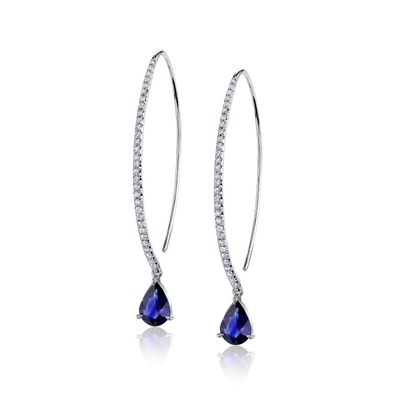 Pear Sapphire Drop Earrings