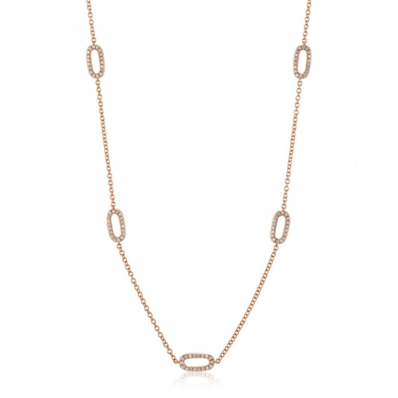 Rose Gold Diamond Link Necklace