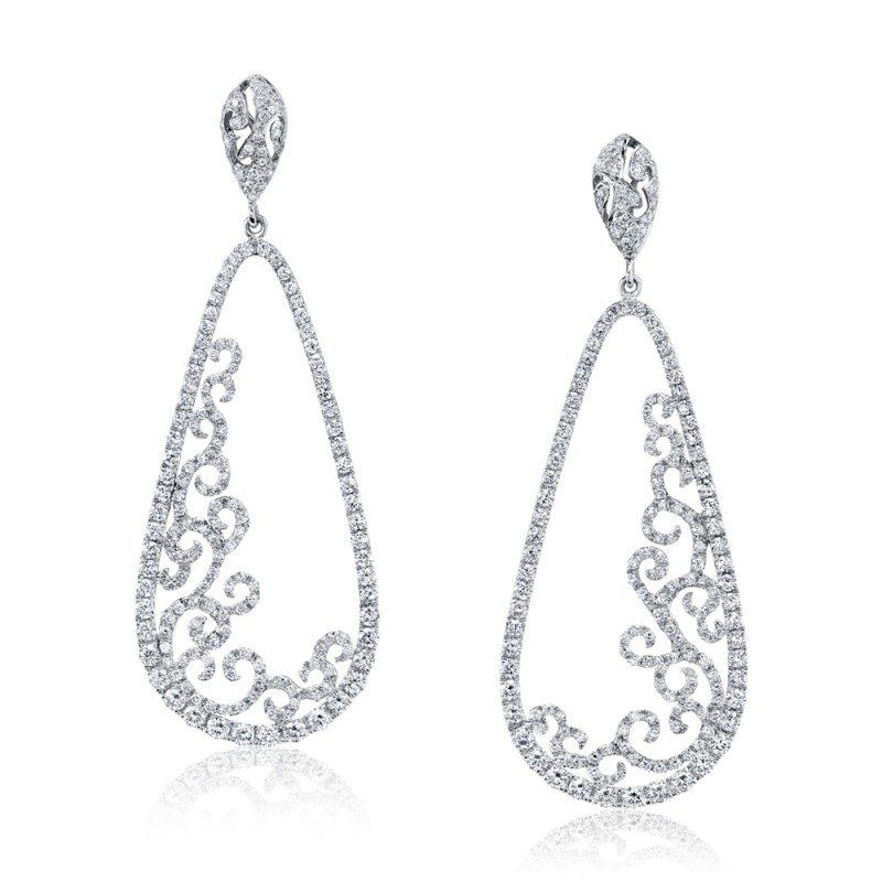 Open Filigree Diamond Earrings