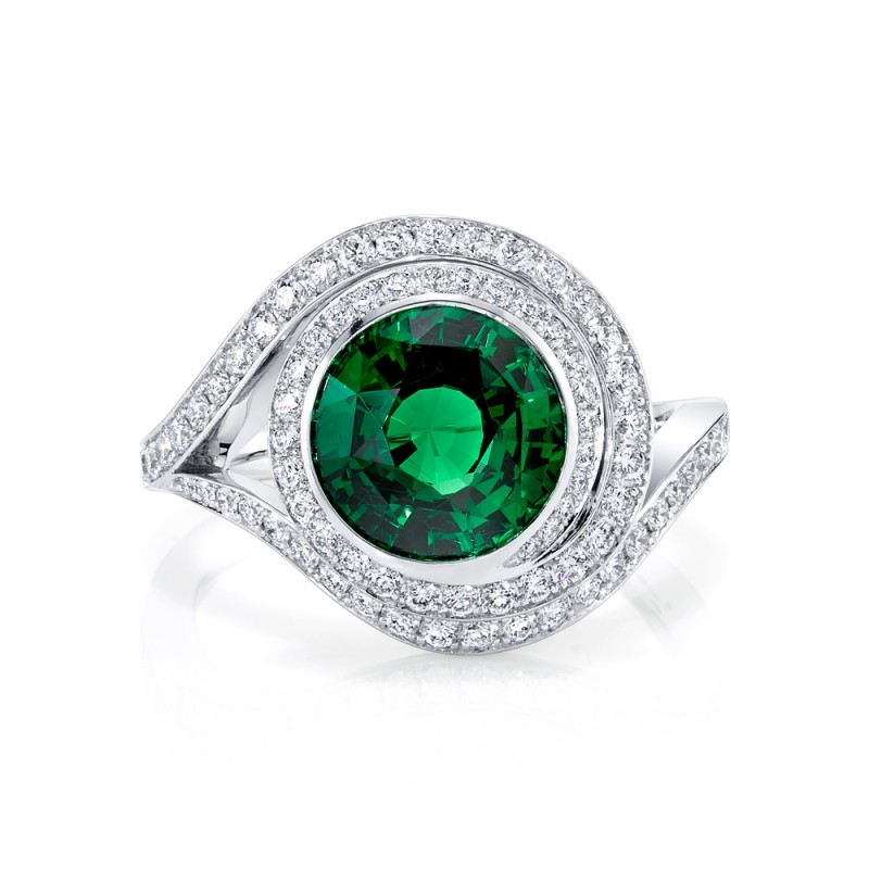 Tsavorite Swirl Halo Ring