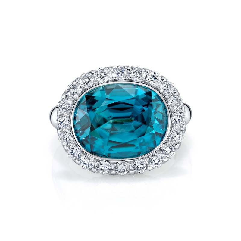 Blue Zircon Diamond Halo Ring