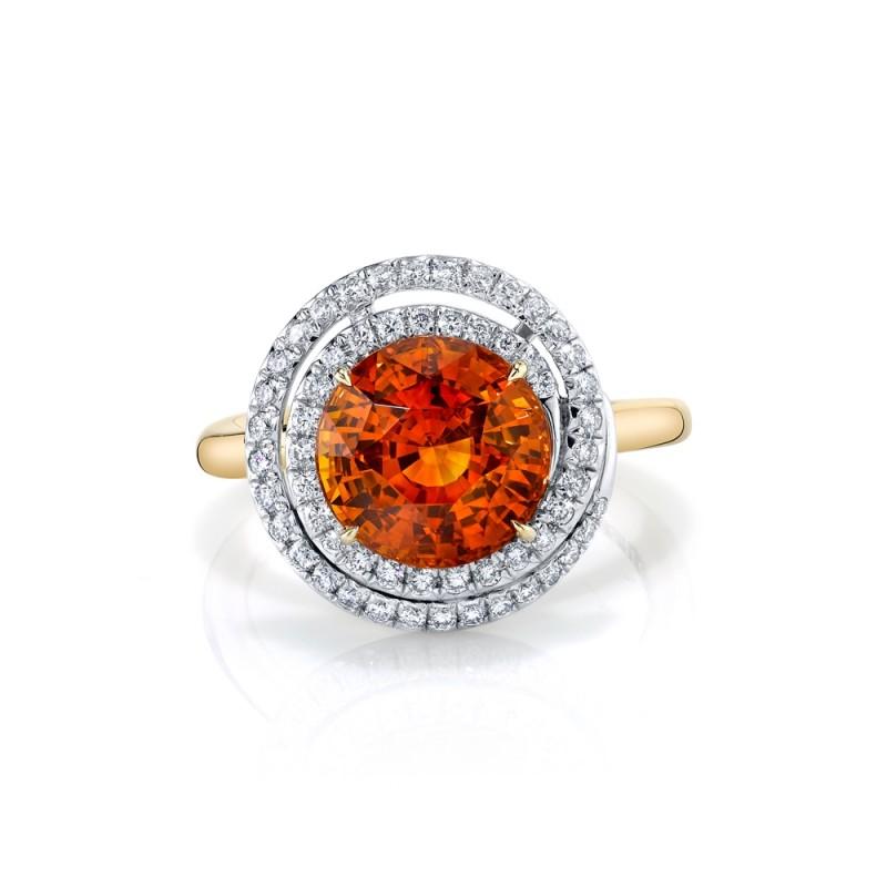 Orange Sapphire Swirl Ring