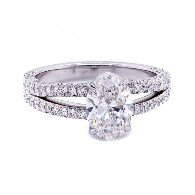 Oval Diamond Split Shank Engagement Ring