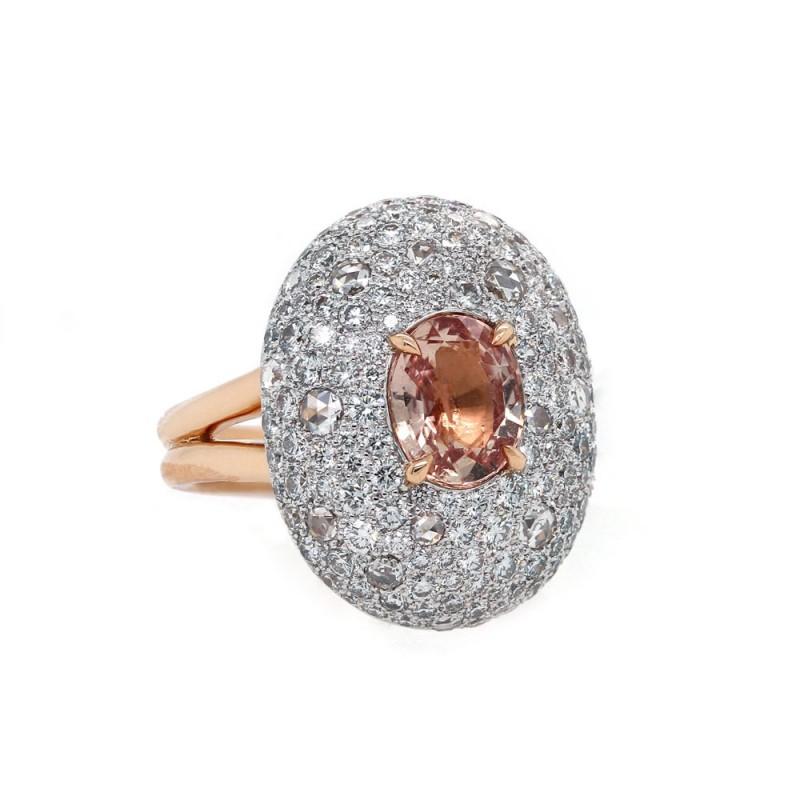 Padparadscha Diamond Ring Rose Gold