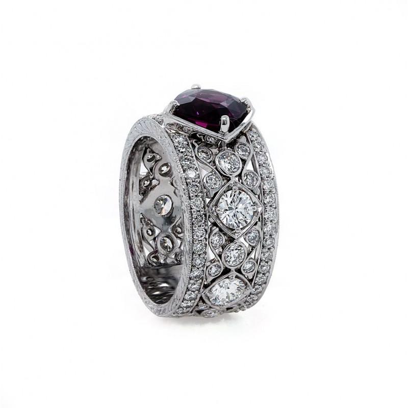 Purple Sapphire Scroll Work Diamond Band