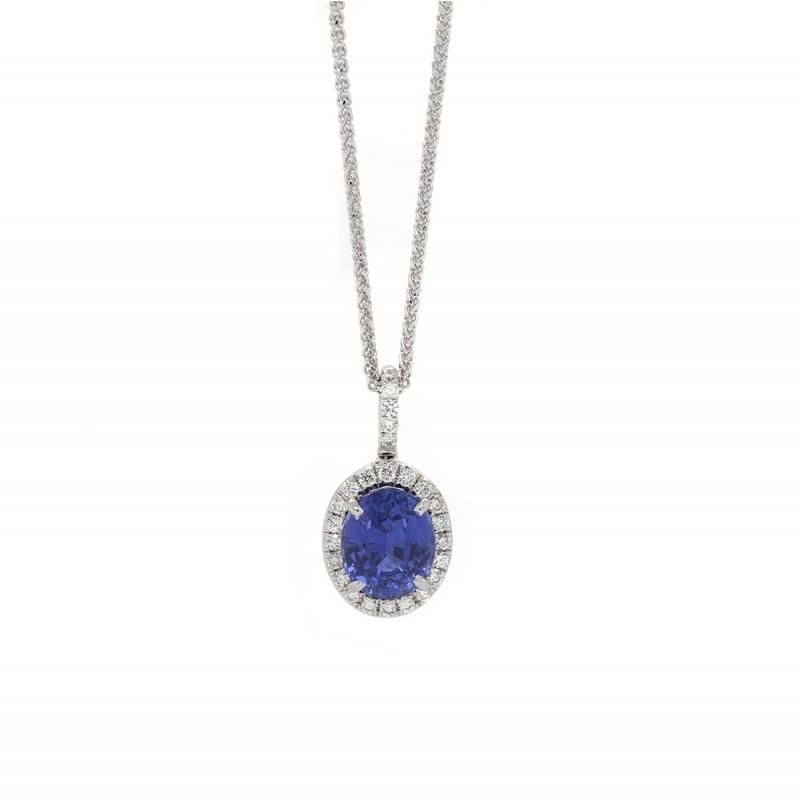Royal Blue Sapphire Halo Pendant