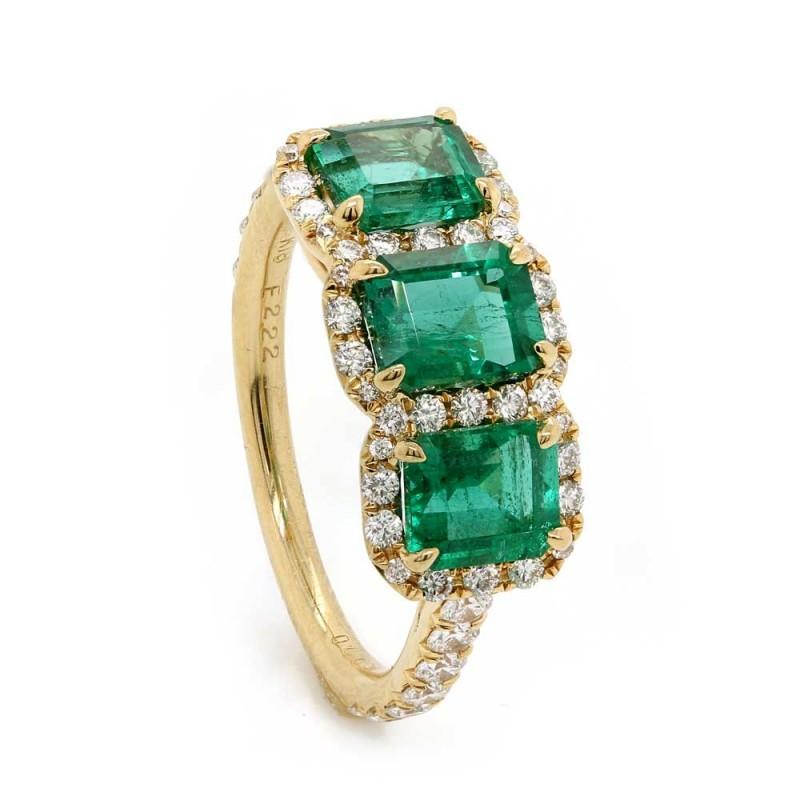 Emerald & Diamond Three Stone Halo Ring