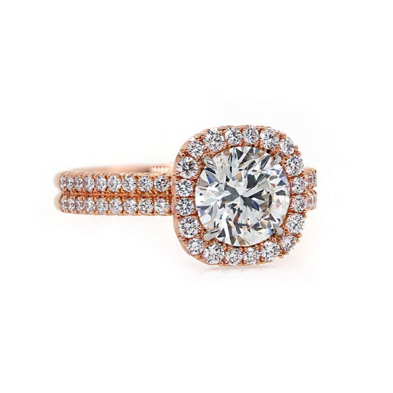Rose Gold Diamond Halo Ring