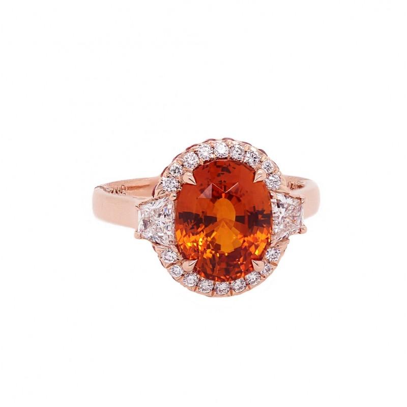 Orange Sapphire Custom Ring