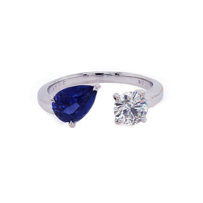 Open Sapphire and Diamond Band