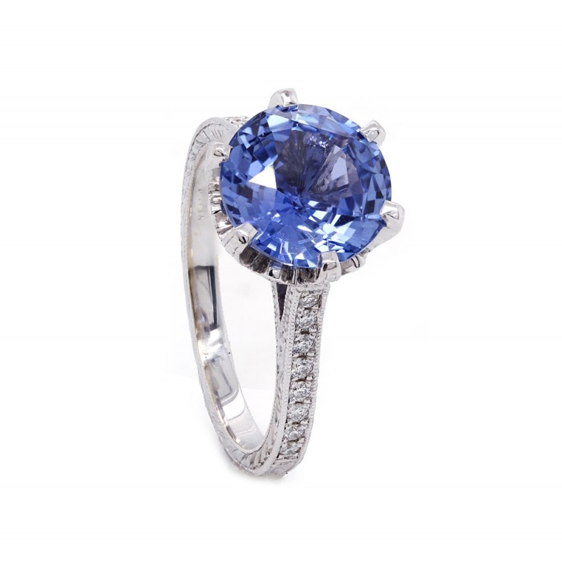 Cornflower Blue Sapphire Vintage Style RIng