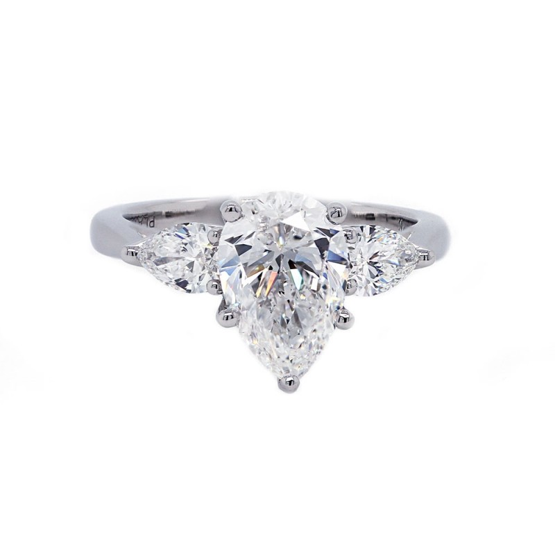 Pear Shaped Diamond Engagement Ring Three Stone