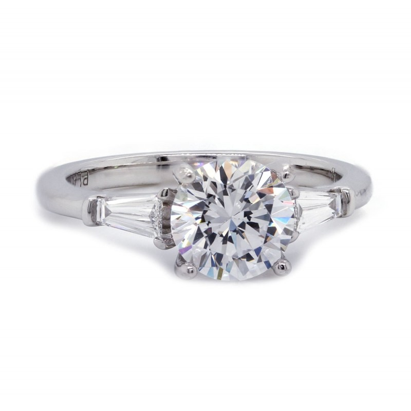 Round Diamond Baguette Accent Engagement Ring