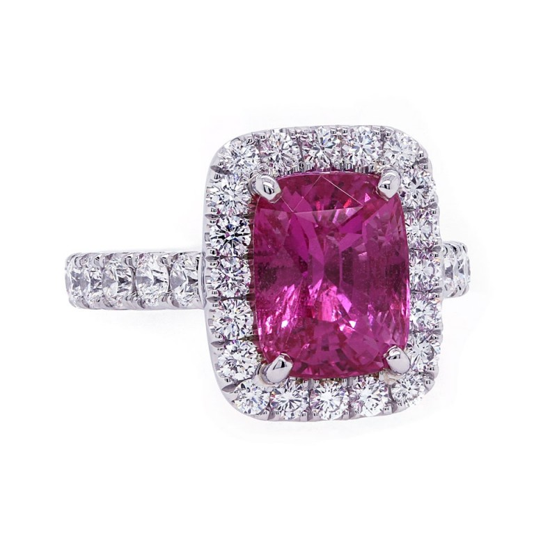 Vivid Unheated Pink Sapphire Ring