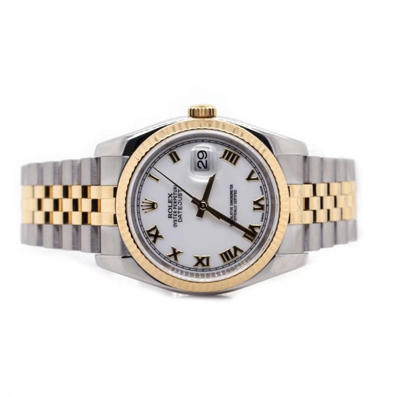 Rolex Datejust 36mm Two Tone White Roman