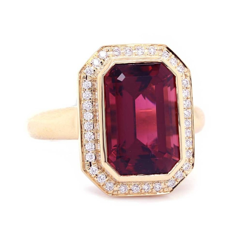 Pink Tourmaline Halo Ring