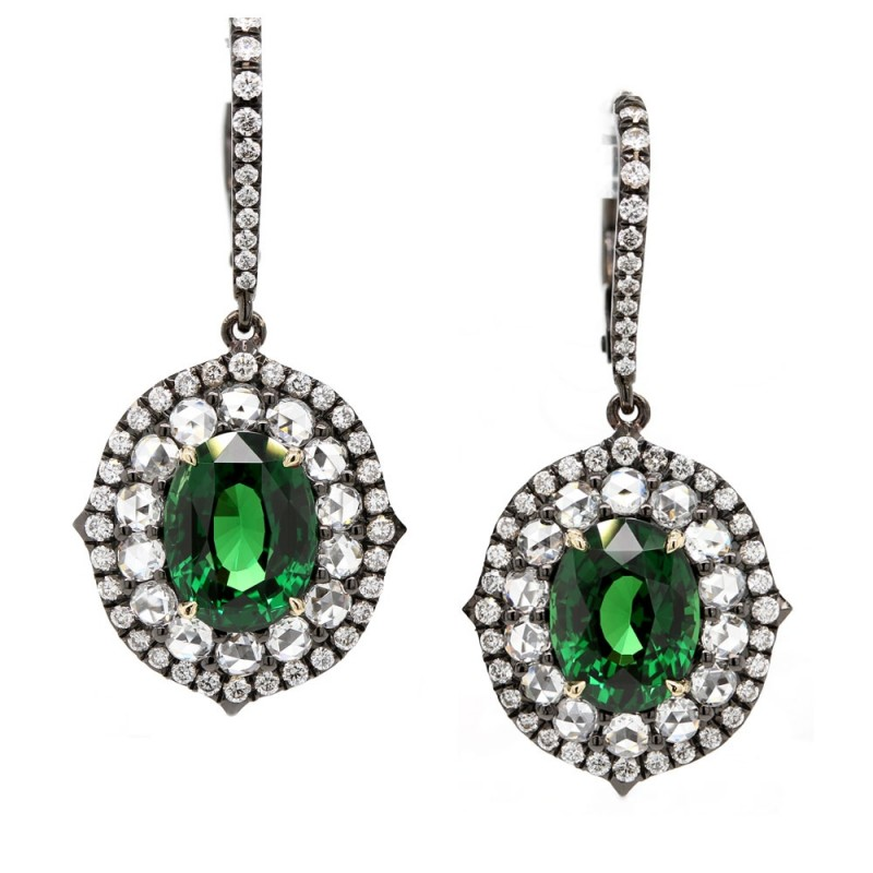 Tsavorite and Rose Cut Diamond Earrings