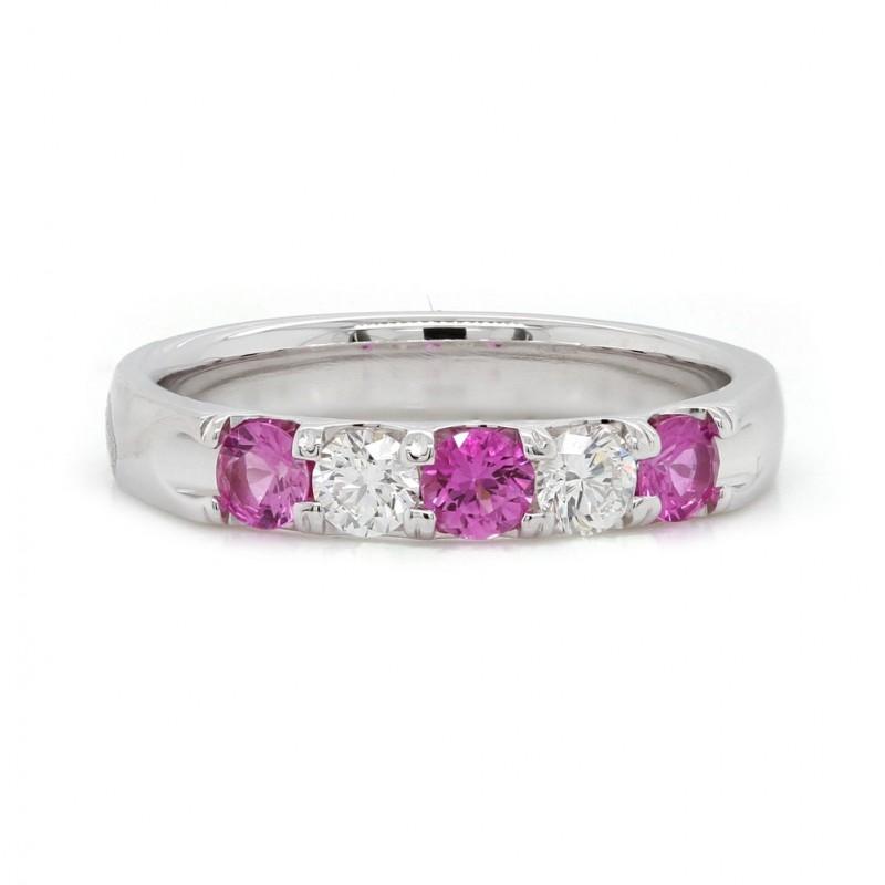 Pink Sapphire and Diamond Band